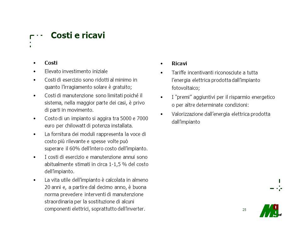 25 Costi e ricavi Costi Elevato investimento iniziale Costi di esercizio sono ridotti al minimo in quanto lirragiamento solare è gratuito; Costi di ma