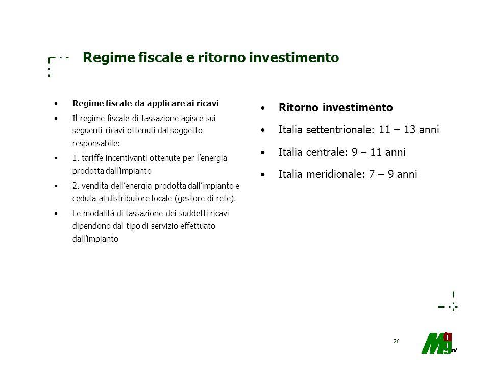 26 Regime fiscale e ritorno investimento Regime fiscale da applicare ai ricavi Il regime fiscale di tassazione agisce sui seguenti ricavi ottenuti dal
