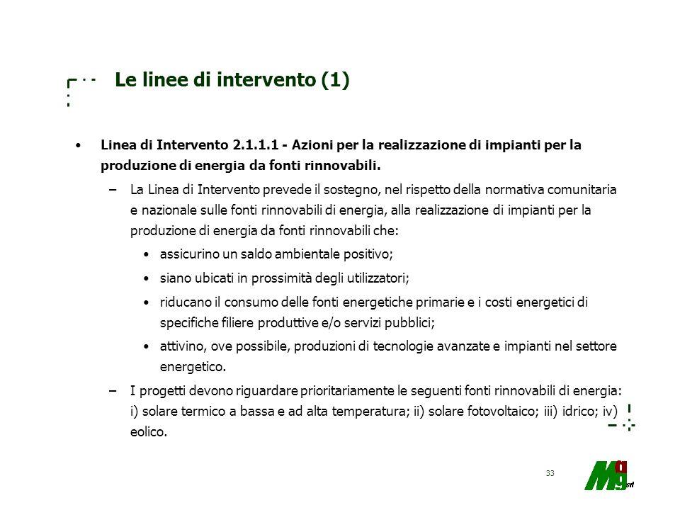 33 Le linee di intervento (1) Linea di Intervento 2.1.1.1 - Azioni per la realizzazione di impianti per la produzione di energia da fonti rinnovabili.