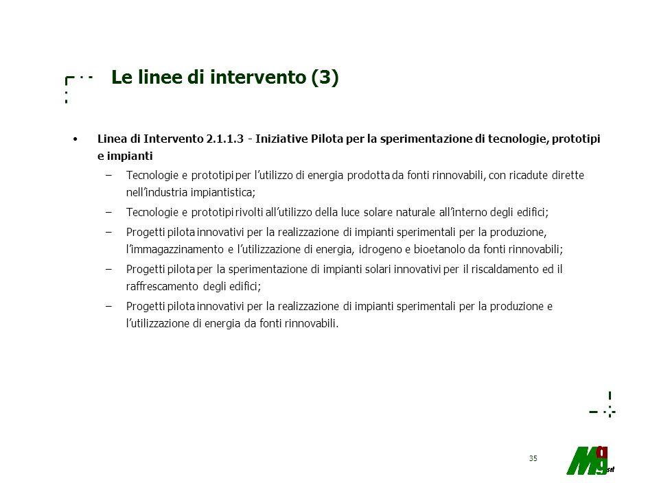 35 Le linee di intervento (3) Linea di Intervento 2.1.1.3 - Iniziative Pilota per la sperimentazione di tecnologie, prototipi e impianti –Tecnologie e