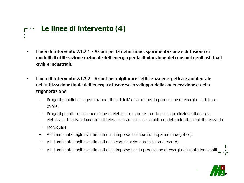 36 Le linee di intervento (4) Linea di Intervento 2.1.2.1 - Azioni per la definizione, sperimentazione e diffusione di modelli di utilizzazione razion