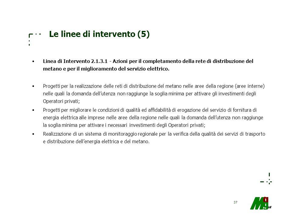 37 Le linee di intervento (5) Linea di Intervento 2.1.3.1 - Azioni per il completamento della rete di distribuzione del metano e per il miglioramento