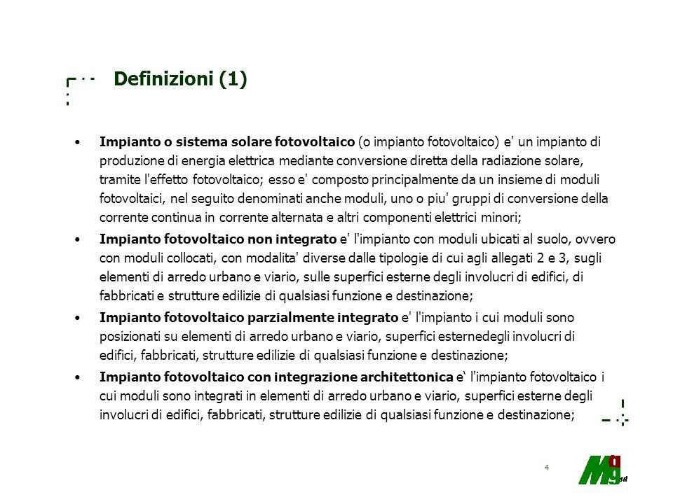 4 Definizioni (1) Impianto o sistema solare fotovoltaico (o impianto fotovoltaico) e' un impianto di produzione di energia elettrica mediante conversi