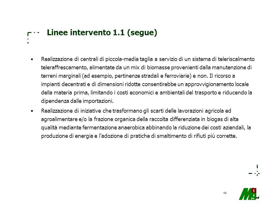 46 Linee intervento 1.1 (segue) Realizzazione di centrali di piccola-media taglia a servizio di un sistema di teleriscalmento teleraffrescamento, alim