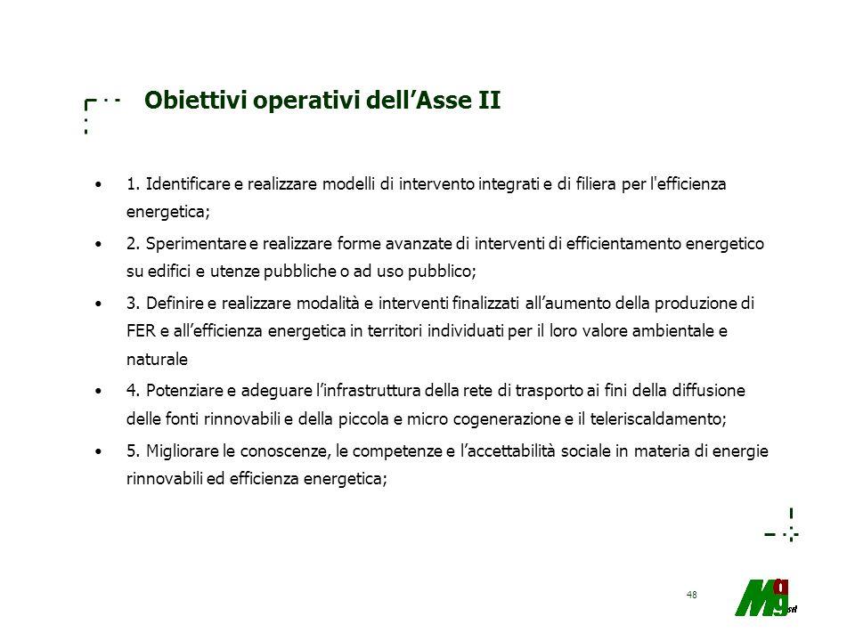 48 Obiettivi operativi dellAsse II 1. Identificare e realizzare modelli di intervento integrati e di filiera per l'efficienza energetica; 2. Speriment