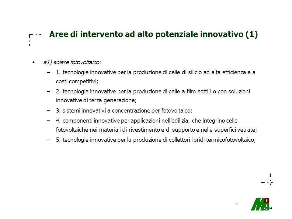 56 Aree di intervento ad alto potenziale innovativo (1) a1) solare fotovoltaico: –1. tecnologie innovative per la produzione di celle di silicio ad al