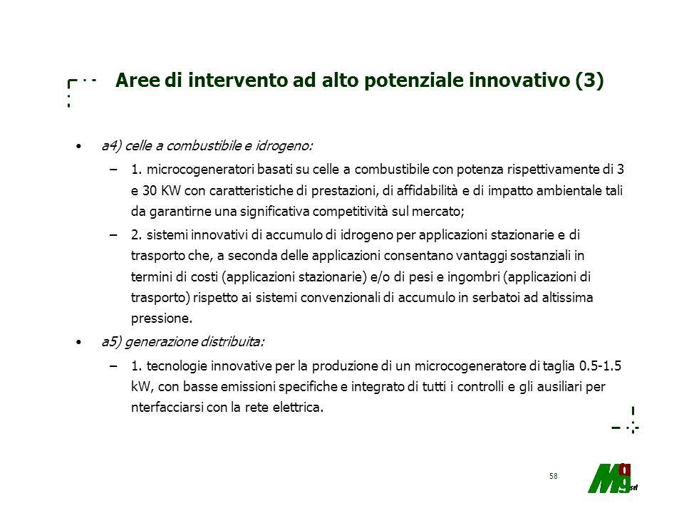 58 Aree di intervento ad alto potenziale innovativo (3) a4) celle a combustibile e idrogeno: –1. microcogeneratori basati su celle a combustibile con