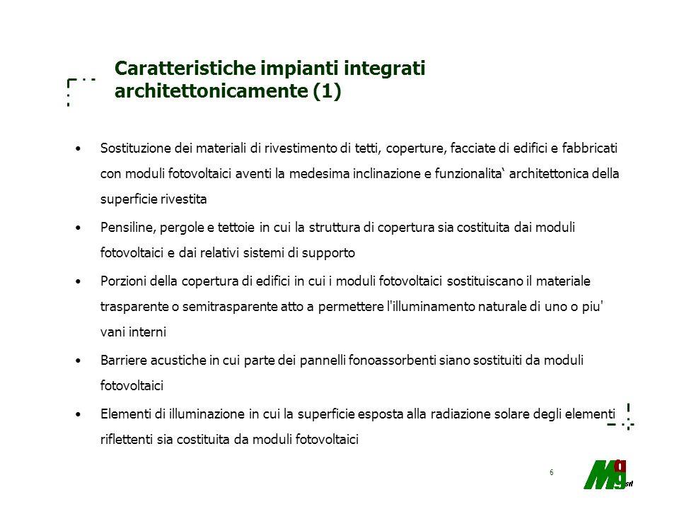 6 Caratteristiche impianti integrati architettonicamente (1) Sostituzione dei materiali di rivestimento di tetti, coperture, facciate di edifici e fab