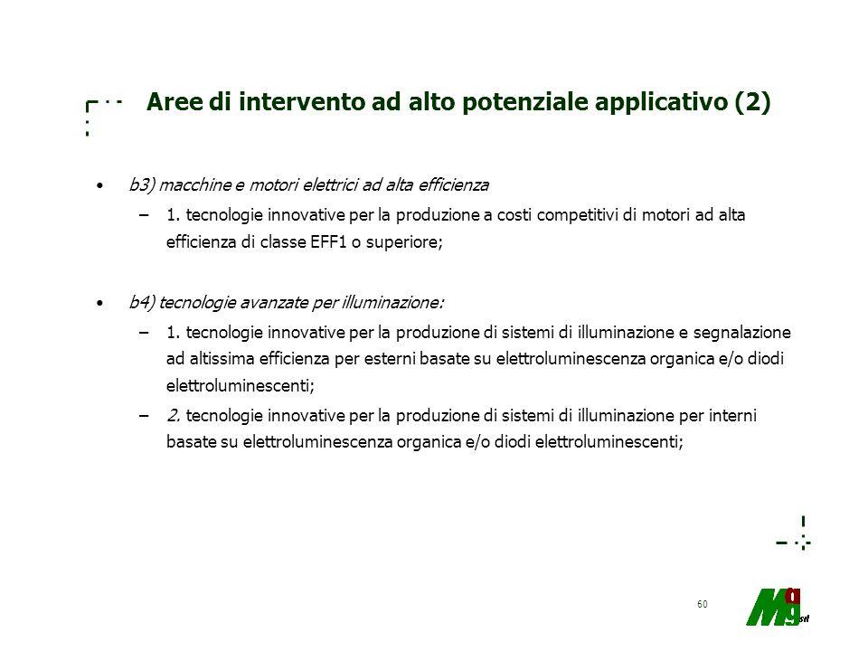 60 Aree di intervento ad alto potenziale applicativo (2) b3) macchine e motori elettrici ad alta efficienza –1. tecnologie innovative per la produzion