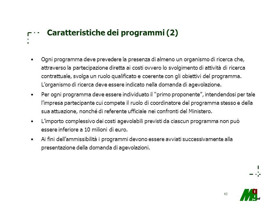 63 Caratteristiche dei programmi (2) Ogni programma deve prevedere la presenza di almeno un organismo di ricerca che, attraverso la partecipazione dir