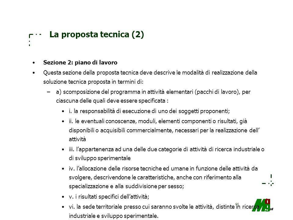 66 La proposta tecnica (2) Sezione 2: piano di lavoro Questa sezione della proposta tecnica deve descrive le modalità di realizzazione della soluzione