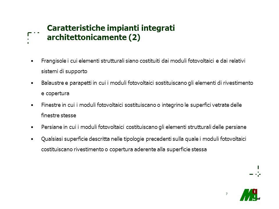 7 Caratteristiche impianti integrati architettonicamente (2) Frangisole i cui elementi strutturali siano costituiti dai moduli fotovoltaici e dai rela