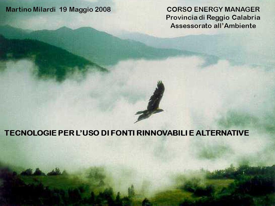 CORSO ENERGY MANAGER Provincia di Reggio Calabria Assessorato allAmbiente TECNOLOGIE PER LUSO DI FONTI RINNOVABILI E ALTERNATIVE Martino Milardi 19 Maggio 2008
