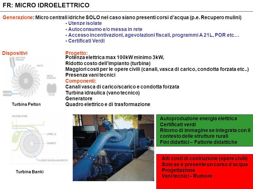 FR: MICRO IDROELETTRICO Generazione: Micro centrali idriche SOLO nel caso siano presenti corsi dacqua (p.e. Recupero mulini) DispositiviProgetto: - Ut