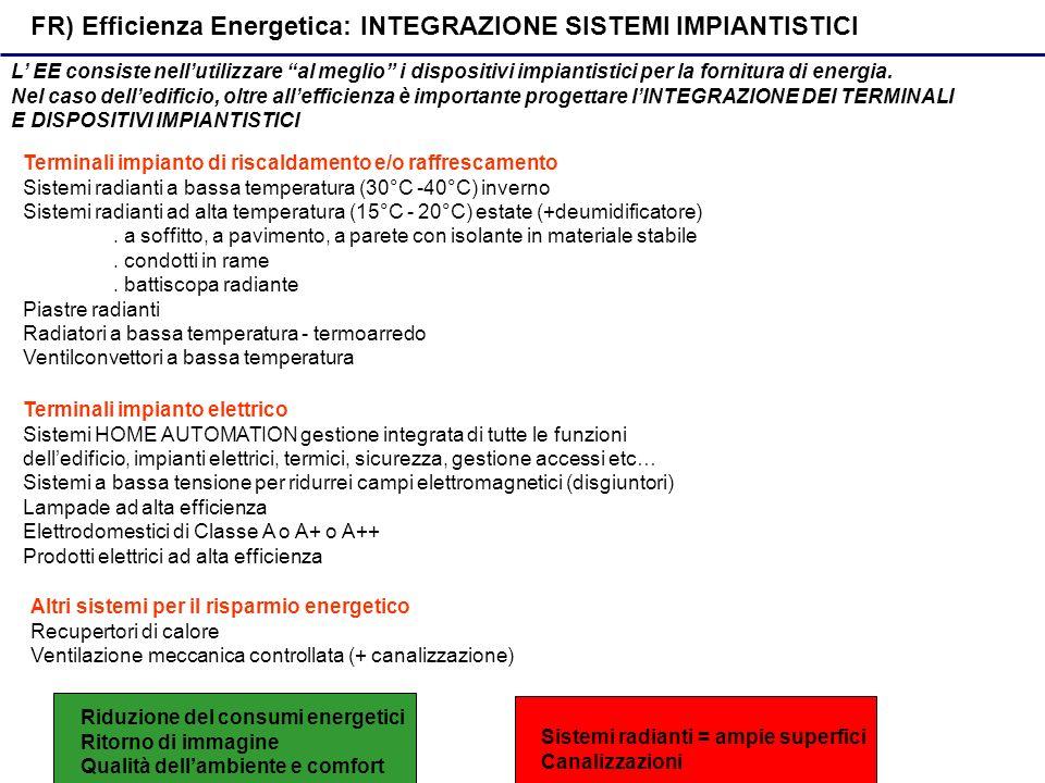 FR) Efficienza Energetica: INTEGRAZIONE SISTEMI IMPIANTISTICI L EE consiste nellutilizzare al meglio i dispositivi impiantistici per la fornitura di energia.