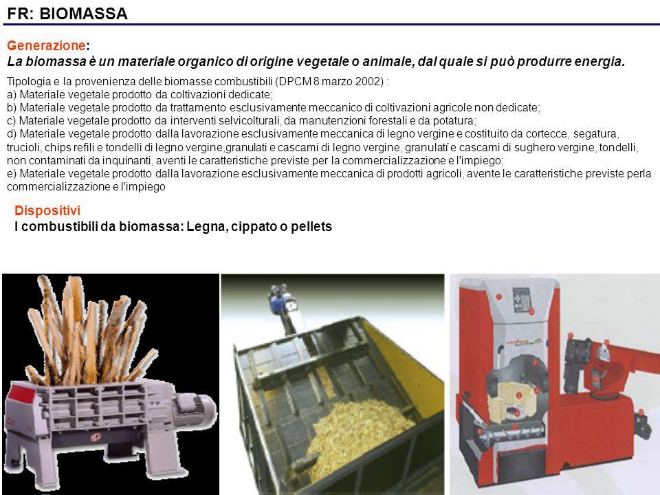 FR: BIOMASSA Generazione: La biomassa è un materiale organico di origine vegetale o animale, dal quale si può produrre energia. Dispositivi I combusti