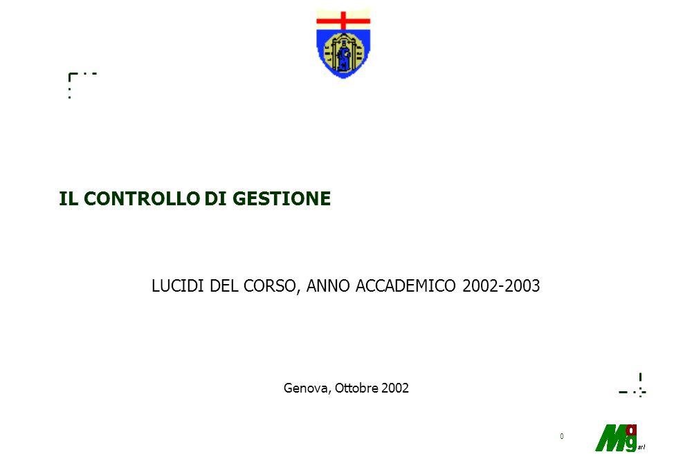 0 Genova, Ottobre 2002 IL CONTROLLO DI GESTIONE LUCIDI DEL CORSO, ANNO ACCADEMICO 2002-2003