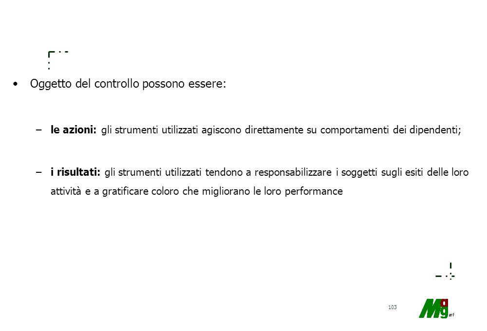 102 Come evitare i problemi del controllo: –eliminazione delle attività aziendali (Outsourcing); –automazione; –centralizzazione; –condivisione del ri