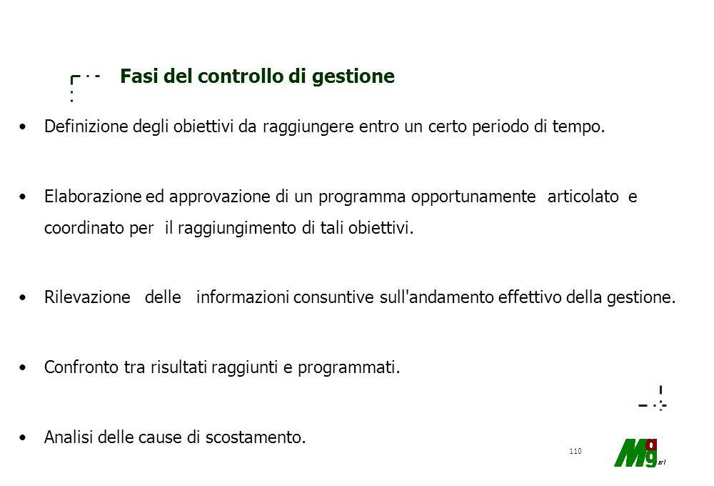 109 Controllo di Feedback e Feedforward Il FEEDBACK CONTROL riguarda il monitoraggio delle differenze tra i risultati desiderati e risultati ottenuti.