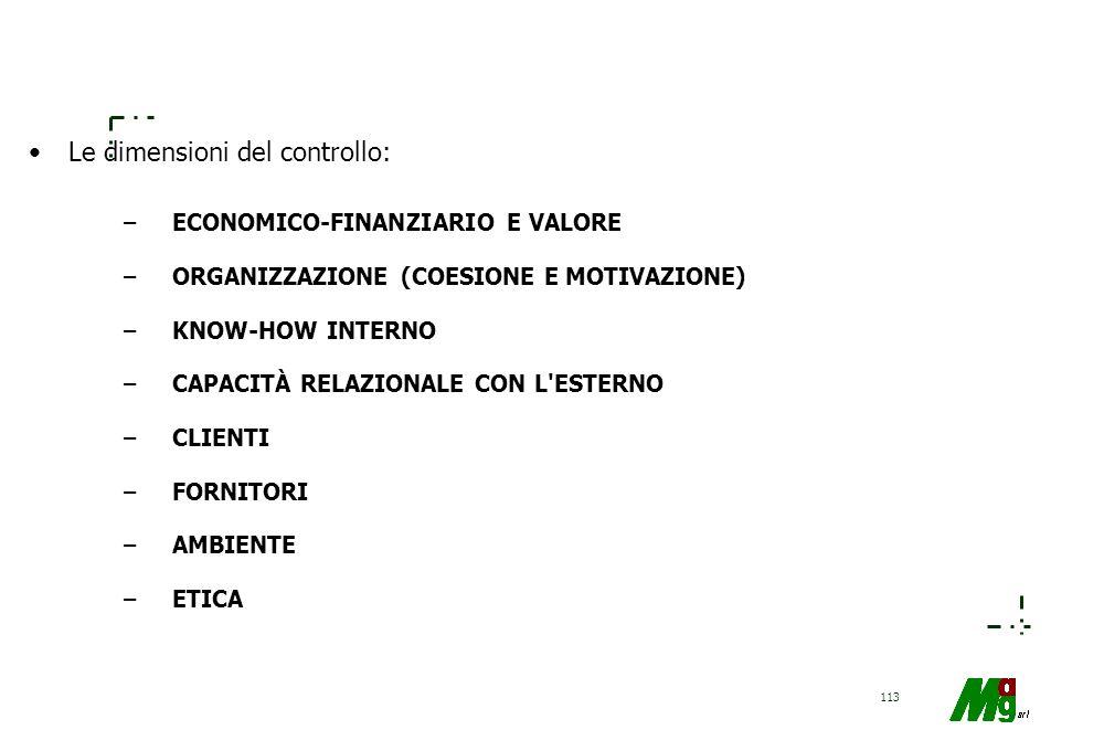 112 Gli elementi del sistema di controllo di gestione STRUTTURA ORGANIZZATIVA MODALITÀ DI DISTRIBUZIONE E ASSEGNAZIONE DELLE RESPONSABILITÀ ECONOMICHE