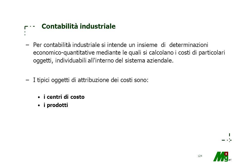 123 Obiettivi della contabilità industriale Orientare talune decisioni aziendali in base a calcoli di convenienza economica; permettere la programmazi