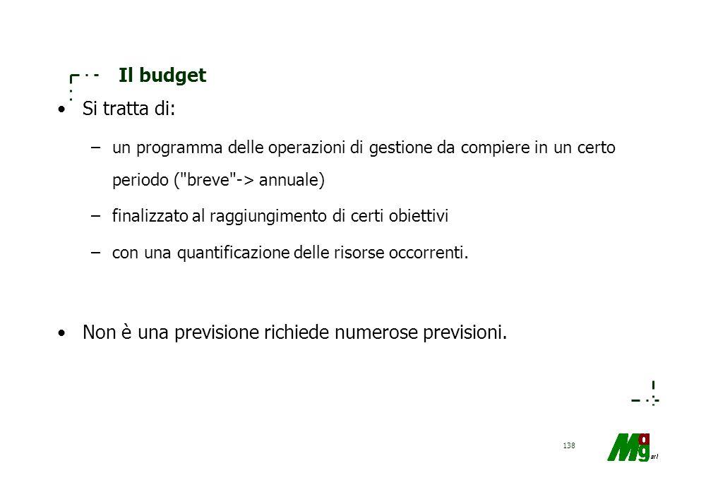 137 Cos'è un budget Si può definire il budget come un programma coordinato delle attività aziendali, a breve termine, che fissa gli obiettivi da raggi