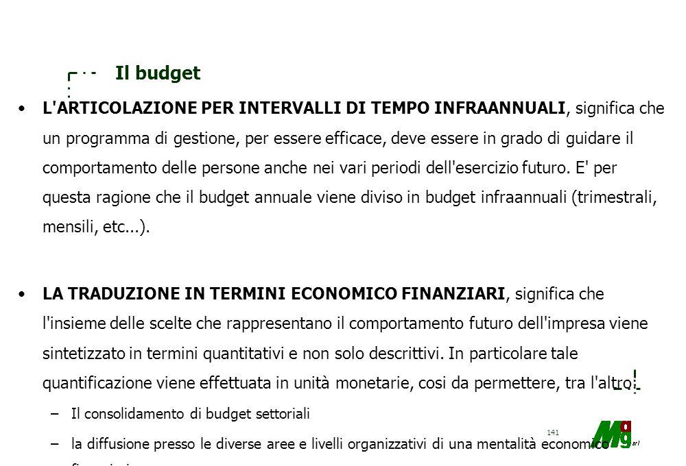 140 Il budget –La globalità: il budget abbraccia tutta l'impresa, cioè in particolare: tutte le aree di attività. tutti i livelli organizzativi, tutti