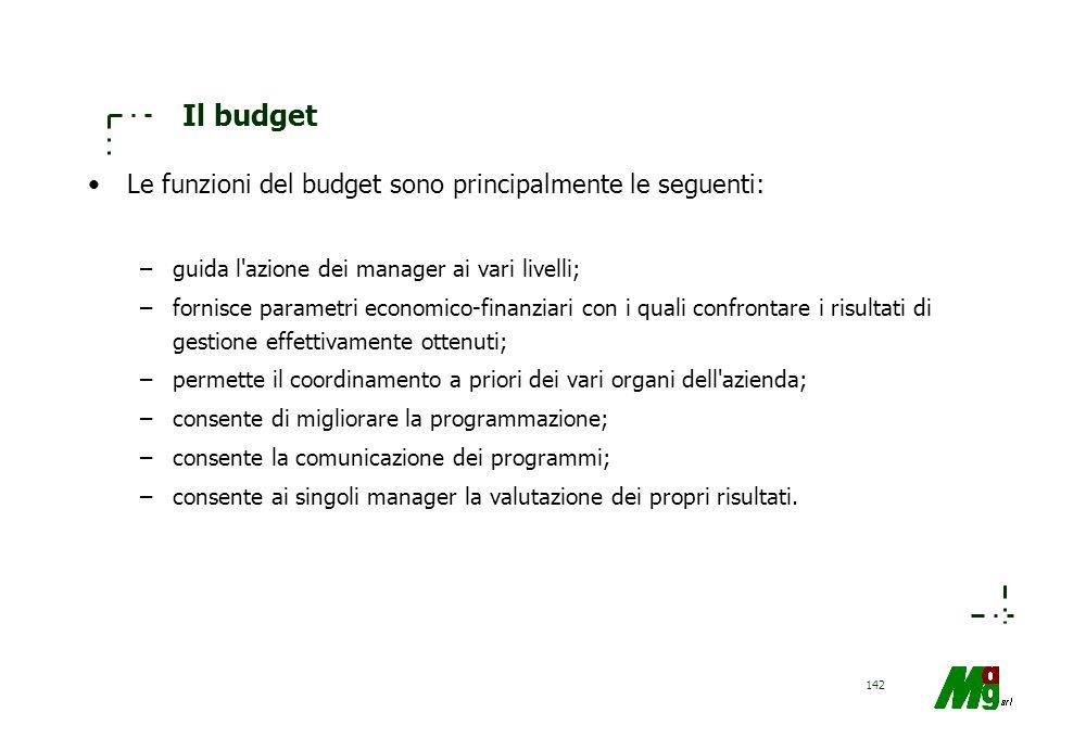 141 Il budget L'ARTICOLAZIONE PER INTERVALLI DI TEMPO INFRAANNUALI, significa che un programma di gestione, per essere efficace, deve essere in grado