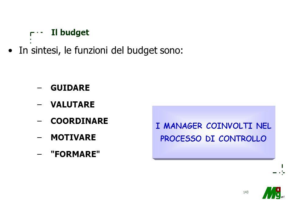 142 Il budget Le funzioni del budget sono principalmente le seguenti: –guida l'azione dei manager ai vari livelli; –fornisce parametri economico-finan