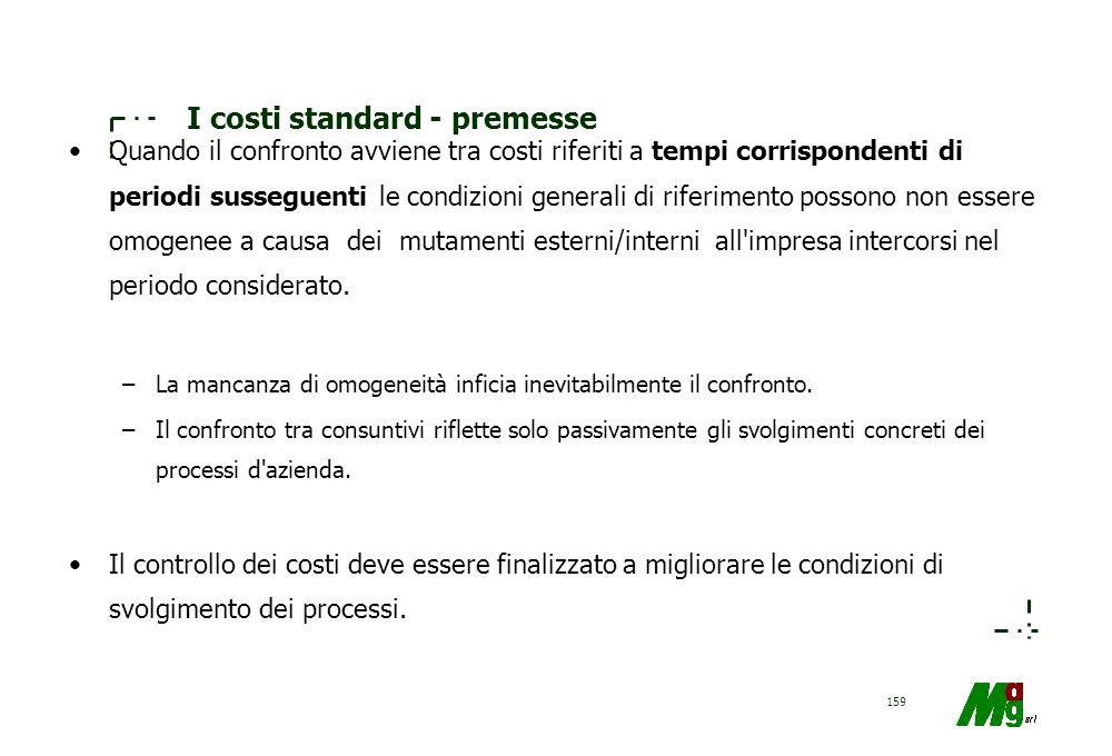158 I costi standard - premesse Il controllo dei costi consuntivi deve essere effettuato attraverso l'utilizzo un