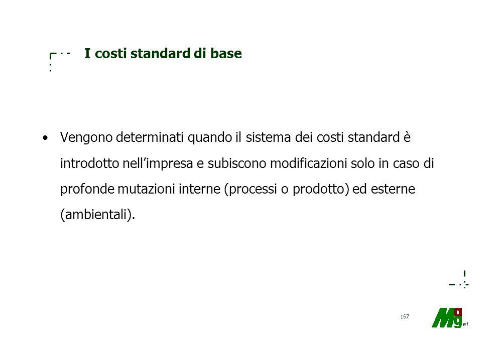 166 I costi standard correnti Servono per stabilire traguardi da raggiungere. Esprimono i livelli di costo raggiungibili date certe condizioni di prez