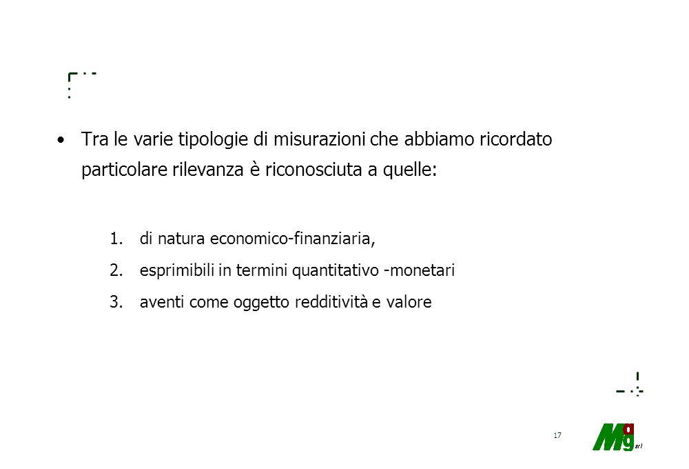 16 Le misurazioni economico-finanziarie possono essere di tipo: –quantitativo-monetario (es. reddito, capitale economico, costi, ricavi); –quantitativ