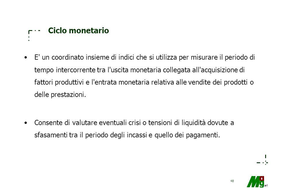 47 La liquidità Quozienti operativi Esprimono la mobilità o rotazione dei valori; ossia il numero di volte in cui il capitale investito si rinnova nel