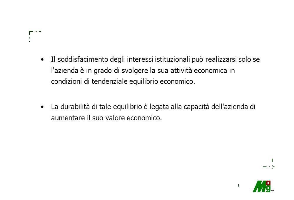 5 Il soddisfacimento degli interessi istituzionali può realizzarsi solo se l azienda è in grado di svolgere la sua attività economica in condizioni di tendenziale equilibrio economico.