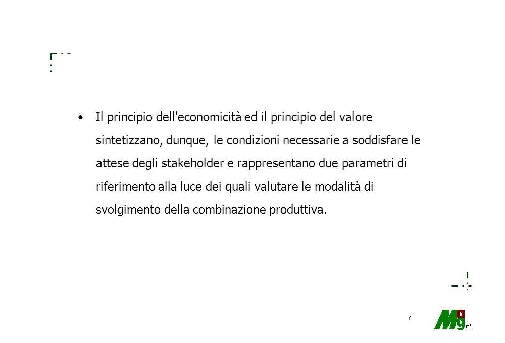 6 Il principio dell economicità ed il principio del valore sintetizzano, dunque, le condizioni necessarie a soddisfare le attese degli stakeholder e rappresentano due parametri di riferimento alla luce dei quali valutare le modalità di svolgimento della combinazione produttiva.