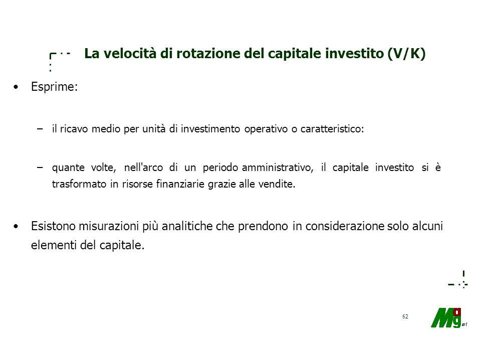 61 La redditività delle vendite (ROS) E' formalizzata dal ROS = Ro/V ed esprime il reddito medio ottenuto per ogni unità di ricavo. Poiché Ro = ro - c
