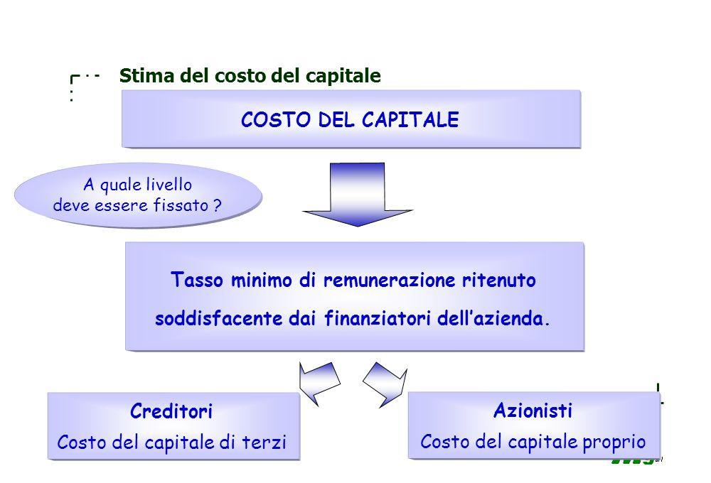 76 Stima del costo del capitale STIMA DEL COSTO DEL CAPITALE PROPRIO Tasso di interesse sugli investimenti privi di rischio + premio per il rischio