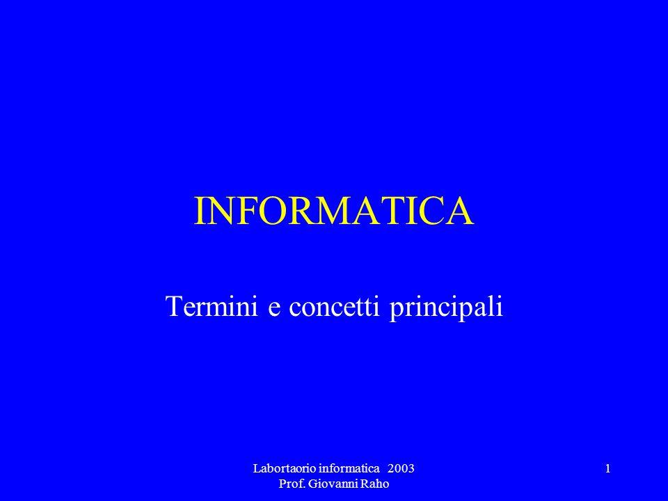 Labortaorio informatica 2003 Prof. Giovanni Raho 1 INFORMATICA Termini e concetti principali