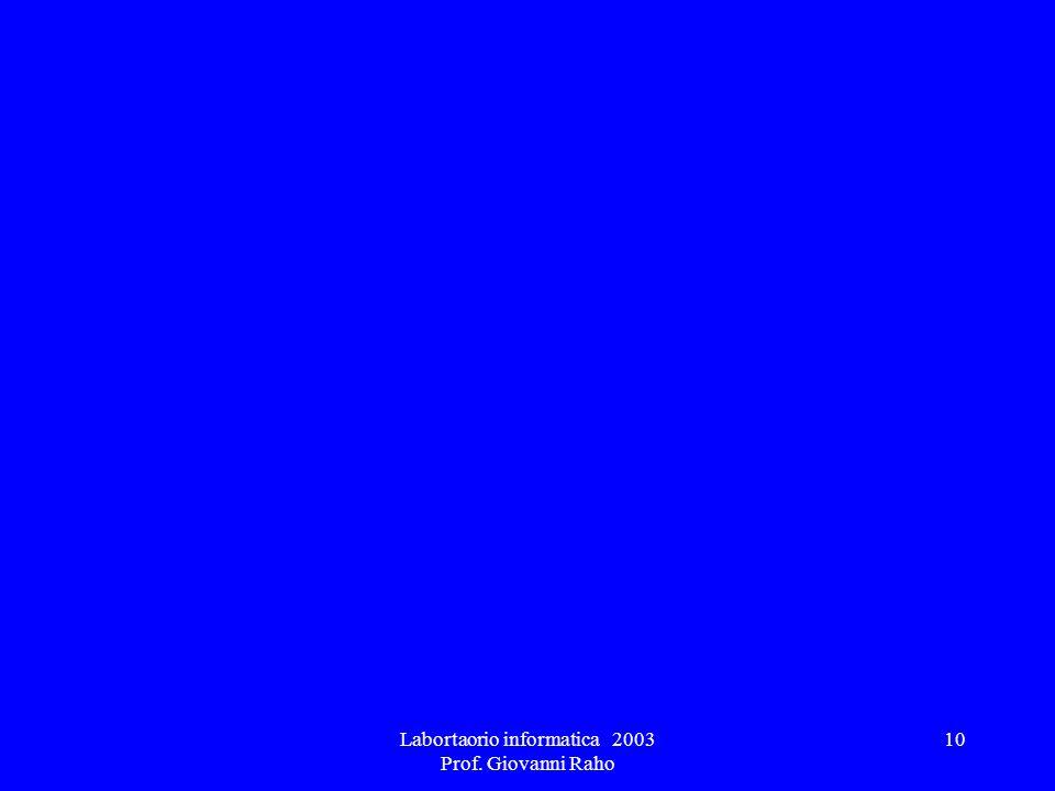 Labortaorio informatica 2003 Prof. Giovanni Raho 10