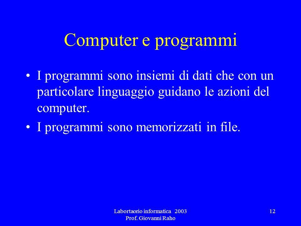 Labortaorio informatica 2003 Prof. Giovanni Raho 12 Computer e programmi I programmi sono insiemi di dati che con un particolare linguaggio guidano le