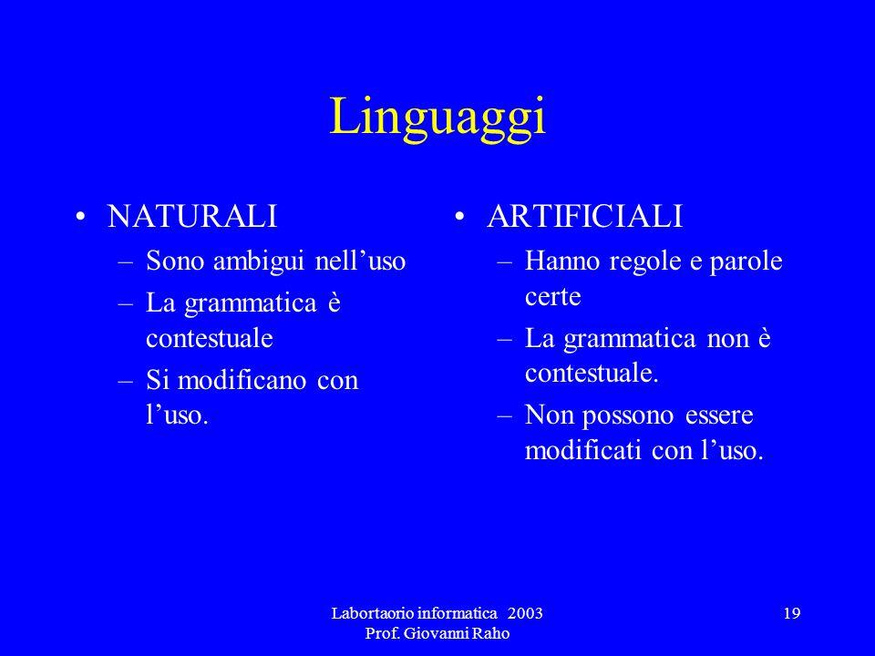 Labortaorio informatica 2003 Prof. Giovanni Raho 19 Linguaggi NATURALI –Sono ambigui nelluso –La grammatica è contestuale –Si modificano con luso. ART