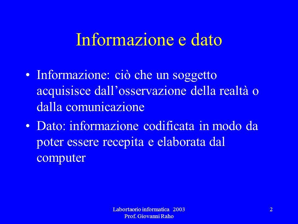 Labortaorio informatica 2003 Prof. Giovanni Raho 2 Informazione e dato Informazione: ciò che un soggetto acquisisce dallosservazione della realtà o da