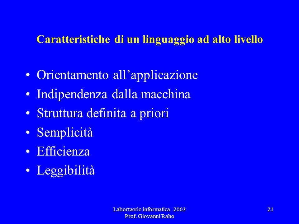 Labortaorio informatica 2003 Prof. Giovanni Raho 21 Caratteristiche di un linguaggio ad alto livello Orientamento allapplicazione Indipendenza dalla m
