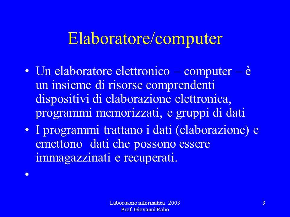Labortaorio informatica 2003 Prof. Giovanni Raho 3 Elaboratore/computer Un elaboratore elettronico – computer – è un insieme di risorse comprendenti d