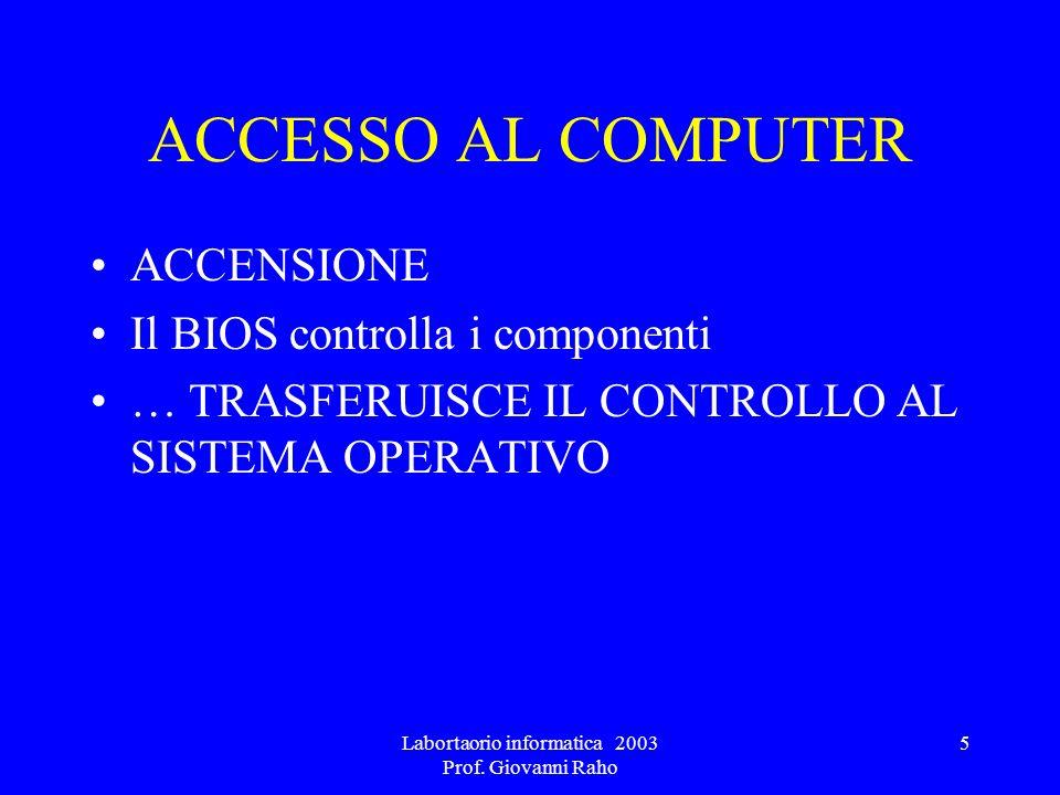 Labortaorio informatica 2003 Prof. Giovanni Raho 5 ACCESSO AL COMPUTER ACCENSIONE Il BIOS controlla i componenti … TRASFERUISCE IL CONTROLLO AL SISTEM