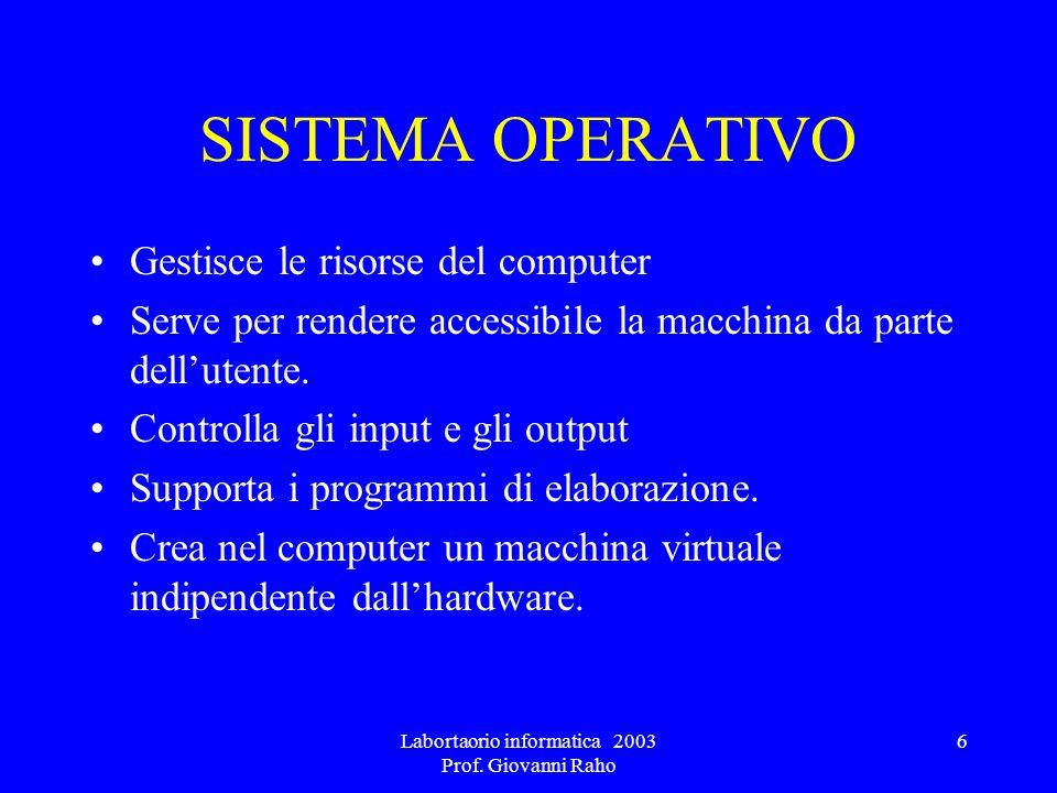 Labortaorio informatica 2003 Prof. Giovanni Raho 6 SISTEMA OPERATIVO Gestisce le risorse del computer Serve per rendere accessibile la macchina da par