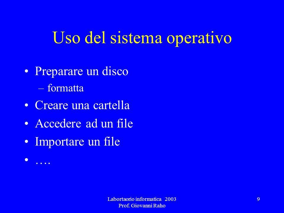 Labortaorio informatica 2003 Prof. Giovanni Raho 9 Uso del sistema operativo Preparare un disco –formatta Creare una cartella Accedere ad un file Impo