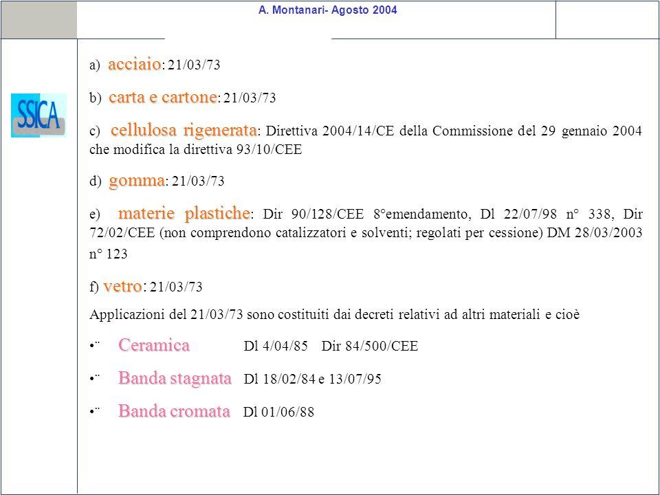 A. Montanari- Agosto 2004 acciaio a) acciaio : 21/03/73 carta e cartone b) carta e cartone : 21/03/73 cellulosa rigenerata c) cellulosa rigenerata : D