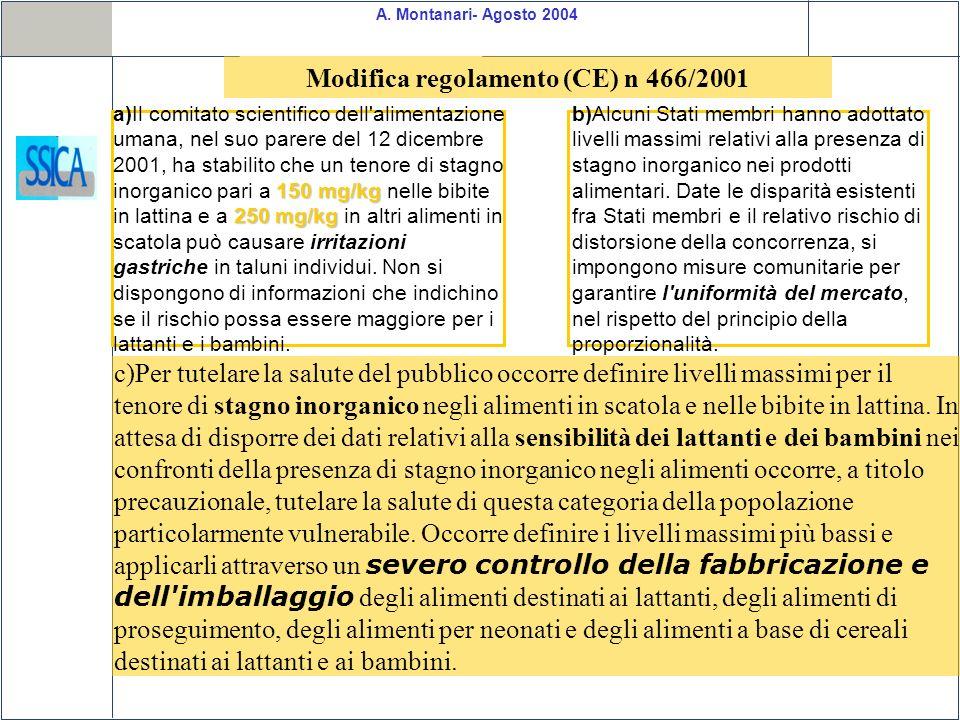 A. Montanari- Agosto 2004 c)Per tutelare la salute del pubblico occorre definire livelli massimi per il tenore di stagno inorganico negli alimenti in