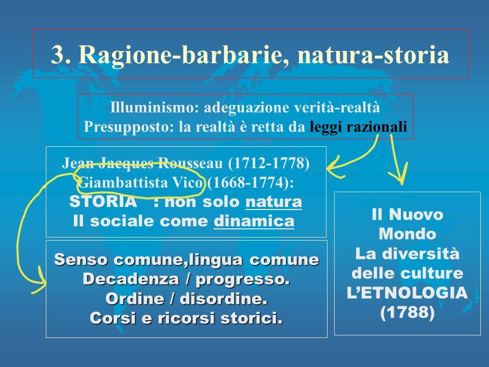 3. Ragione-barbarie, natura-storia Illuminismo: adeguazione verità-realtà Presupposto: la realtà è retta da leggi razionali Jean Jacques Rousseau (171